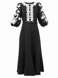 Andrew Gn - Balloon-sleeve Lace-trimmed Crepe Dress - Womens - Black White