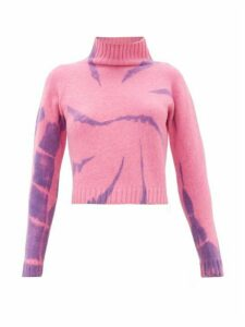 The Elder Statesman - Highland Tie-dyed Cropped Cashmere Sweater - Womens - Pink