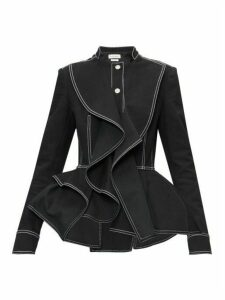 Alexander Mcqueen - Topstitched Peplum-hem Denim Jacket - Womens - Black