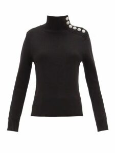 Paco Rabanne - Milano Merino Wool Button-embellished Sweater - Womens - Black