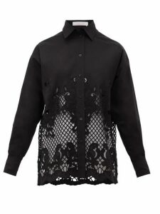 See By Chloé - Floral-embroidered Cotton-poplin Shirt - Womens - Black
