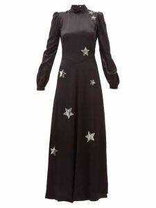 Bella Freud - Ophelia Sequinned-star Satin Gown - Womens - Black