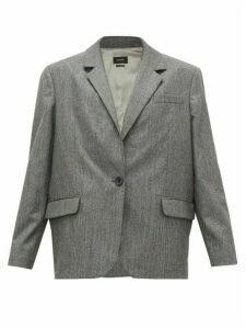 Isabel Marant - Melinda Single-breasted Houndstooth Wool Blazer - Womens - Dark Grey