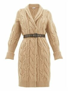 Brunello Cucinelli - Long-line Cable-knit Cashmere Cardigan - Womens - Light Brown