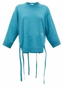 Chloé - Iconic Monogram-embroidered Cashmere Sweater - Womens - Mid Blue
