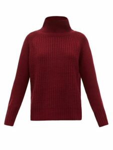 Nili Lotan - Houston Roll-neck Waffle-knit Cashmere Sweater - Womens - Burgundy