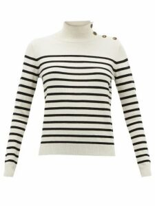Nili Lotan - Beale Striped High-neck Cashmere Sweater - Womens - Ivory Multi