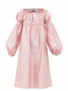 Àcheval Pampa - Antonia Off-the-shoulder Shantung-silk Dress - Womens - Pink