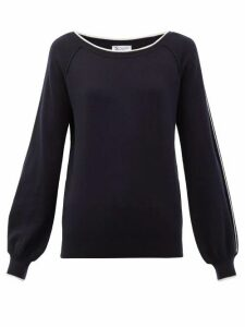 Johnston's Of Elgin - Lilla Sleeve-stripe Cashmere Sweater - Womens - Navy White
