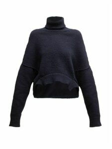 Golden Goose - Oversized Roll-neck Cropped Sweater - Womens - Navy