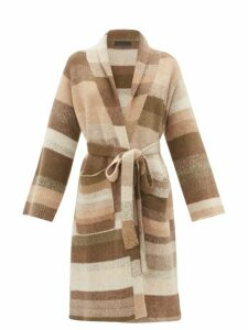 The Elder Statesman - Belted Long-line Striped-cashmere Cardigan - Womens - Multi