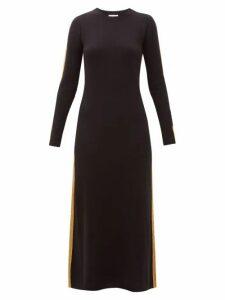 Bella Freud - Britt Gold-striped Cashmere Maxi Dress - Womens - Black