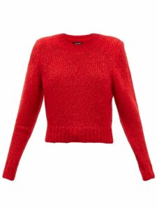 Isabel Marant - Idona Padded-shoulder Mohair-blend Sweater - Womens - Red