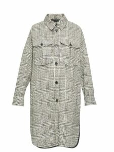 Isabel Marant Étoile - Obira Houndstooth Shirt Coat - Womens - Dark Grey