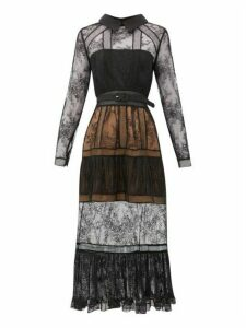 Self-portrait - Point Collar Lace-insert Tiered Dress - Womens - Black