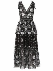 Self-portrait - Floral-sequinned V-neck Tiered Dress - Womens - Black