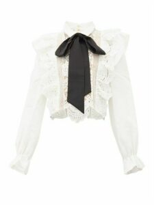 Self-portrait - Balloon-sleeve Pussy-bow Lace Blouse - Womens - White Black