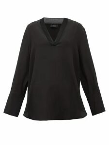 Joseph - Miller V-neck Silk Crepe De Chine Blouse - Womens - Black
