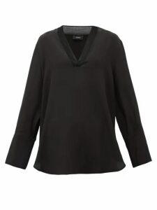 Joseph - Miller V-neck Silk Crepe De Chine Blouse - Womens - Black