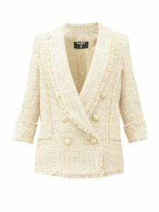 Balmain - Double-breasted Cotton-blend Tweed Jacket - Womens - Beige Multi