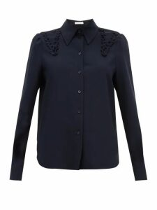 See By Chloé - Ruffled Crepe Shirt - Womens - Dark Navy