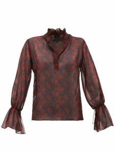 Nili Lotan - Ruffled Snake-print Silk-chiffon Blouse - Womens - Burgundy