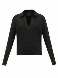 Nili Lotan - Stanton V-neck Metallic Wool-blend Sweater - Womens - Black