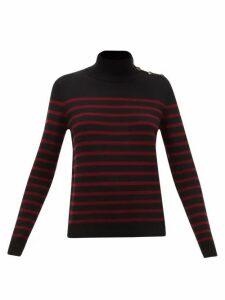 Nili Lotan - Beale High-neck Striped Cashmere Sweater - Womens - Black Multi