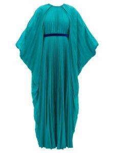 Roksanda - Inara Cape-sleeve Pleated Satin Dress - Womens - Blue