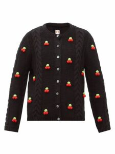 Shrimps - Silos Cherry Cable-knit Wool-blend Cardigan - Womens - Black Multi