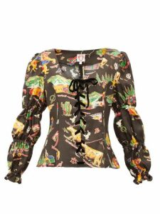 Shrimps - Jerico Rodeo-print Silk-satin Blouse - Womens - Black Multi