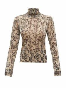 Altuzarra - Lexia Python-print Roll-neck Lamé Sweater - Womens - Beige