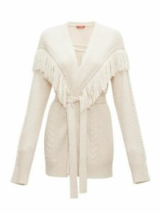 Altuzarra - Trailblazer Fringed Cable-knit Cardigan - Womens - Ivory