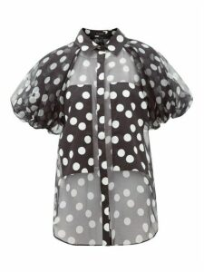 Lee Mathews - Cherry Polka-dot Puff-sleeve Silk-organza Blouse - Womens - Black White