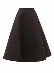 Lee Mathews - Olive Quilted Cotton-poplin Midi Skirt - Womens - Black