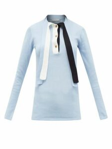 Palmer//harding - Revan Tie-neck Cotton And Modal Jersey Sweater - Womens - Light Blue