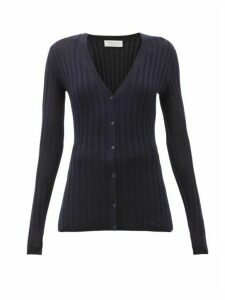 Gabriela Hearst - Homer Jaipur Ribbed-knit Cashmere-blend Cardigan - Womens - Navy