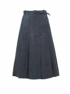 Gabriela Hearst - Herbert Pleated Linen-denim Skirt - Womens - Denim