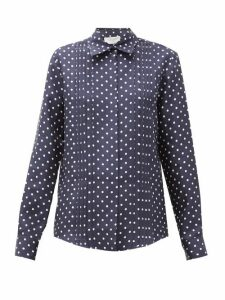 Gabriela Hearst - Mirtha Polka-dot Pintucked Silk-twill Shirt - Womens - Navy White