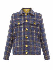 M Missoni - Checked Upcycled Velvet Tweed Jacket - Womens - Navy Multi