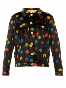 M Missoni - Polka-dot Print Upcycled-velvet Shirt Jacket - Womens - Black Multi