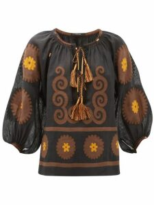 Vita Kin - Siam Floral-appliqué Linen Blouse - Womens - Brown Multi