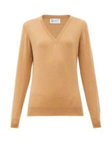 Johnston's Of Elgin - V-neck Cashmere Sweater - Womens - Camel