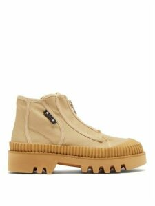 Proenza Schouler - Zip-front Panelled Ankle Boots - Womens - Beige