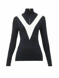 Fusalp - Victoire Chevron-intarsia Ribbed Sweater - Womens - Navy