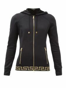 Versace - Zip-up Tech-jersey Hooded Sweatshirt - Womens - Black