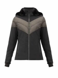 Fusalp - Anne Faux Fur-trimmed And Chevron-quilted Jacket - Womens - Black
