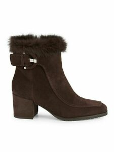 Charlize Rabbit Fur-Cuff & Shearling-Lined Suede Booties