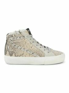 Panick Snake-Embossed High-Top Sneakers