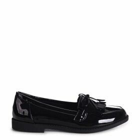 CARLEEN - Black Patent Classic Patent Loafer with Bow Detailing & Fringing